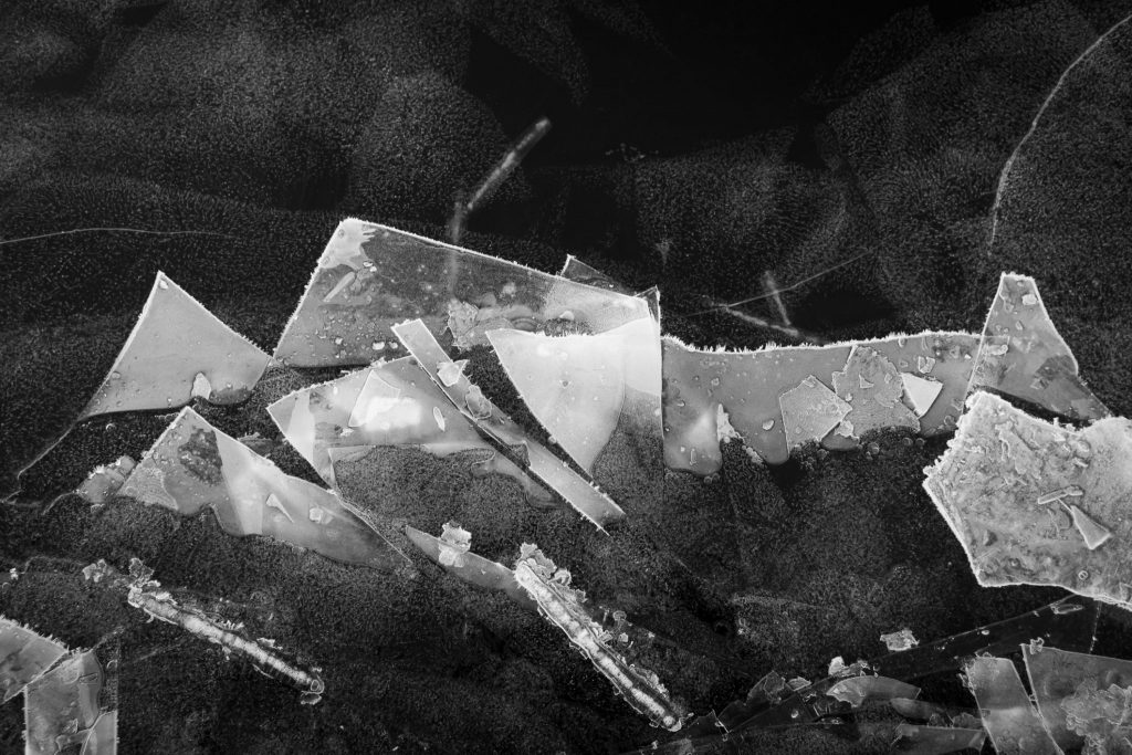 frozen lake ice sculpture