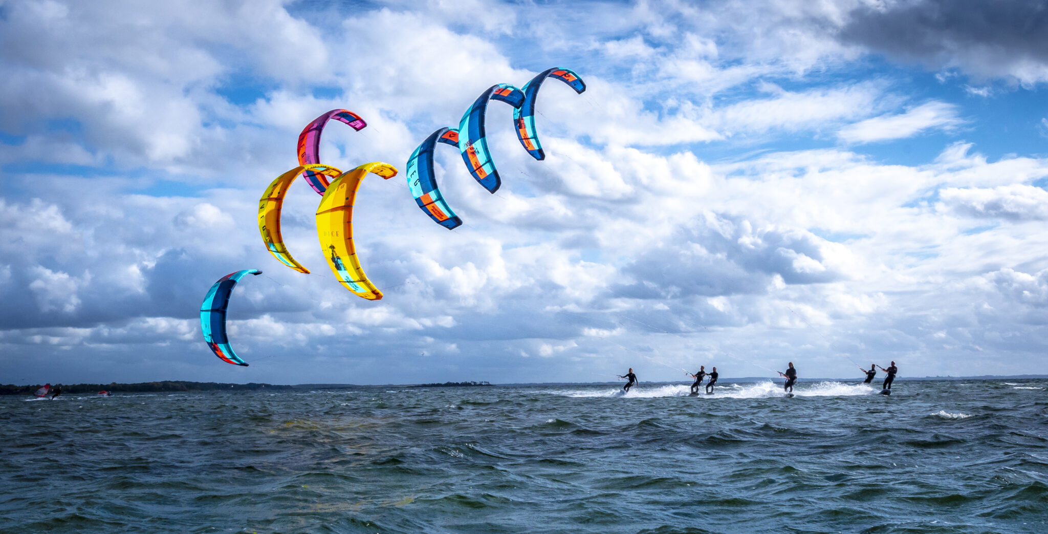 Kitesurfers out on photo shoot